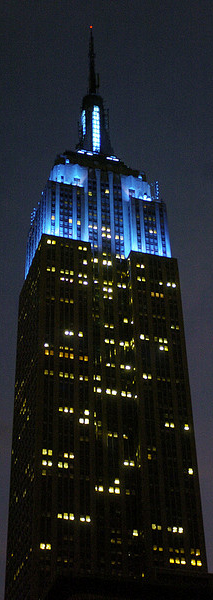 The Empire State Building in Blue
